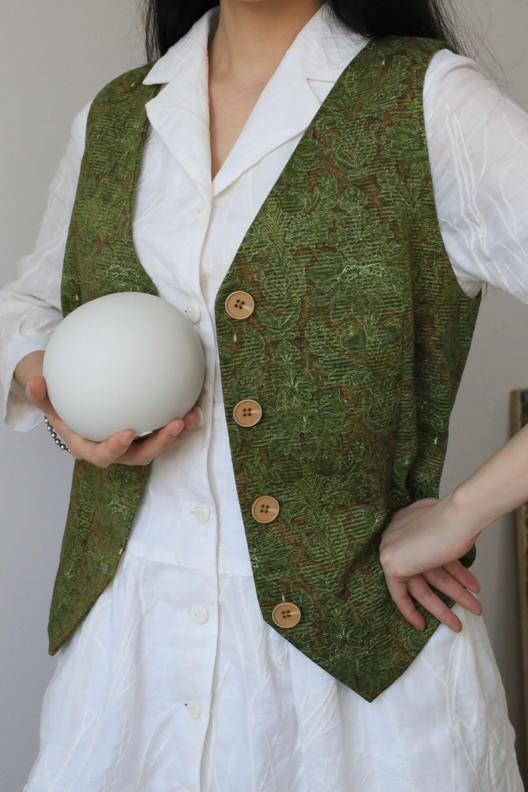 Tycs studio imported hemp cotton printing green rattan light shadow exclusive Limited sales vest