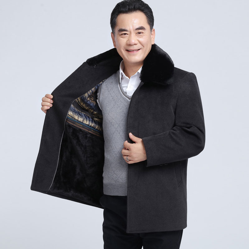Middle aged and elderly winter mens middle-aged woolen coat with plush fathers coat