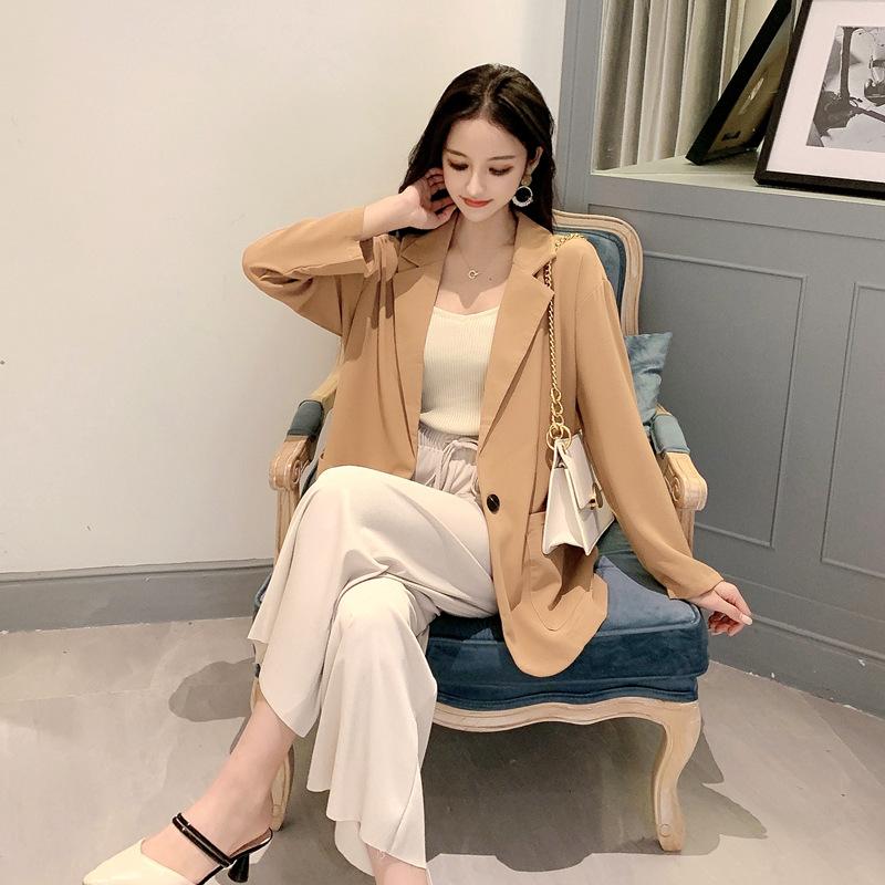 实拍~小视频~2019秋冬款CHIC纯色小西装外套+纯色休闲裤两件套装