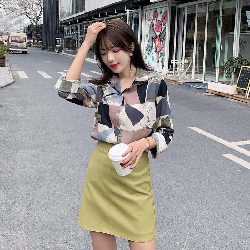 2020新款~實拍~小視頻~韓版女裝幾何圖形拼色翻領長袖雪紡襯衫