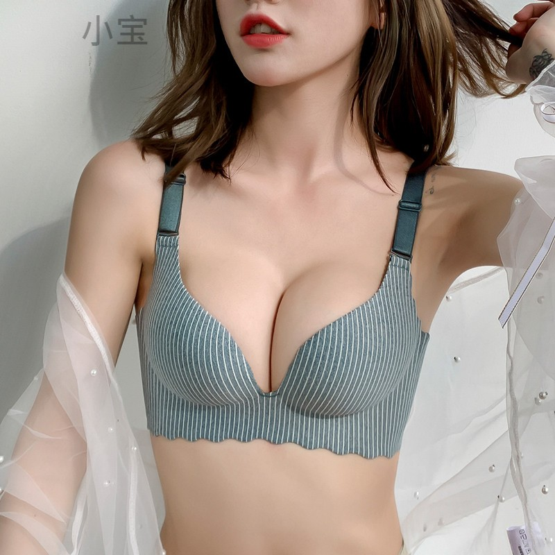 Small chest sexy gathered without steel ring womens underwear with accessory breast and droop adjustable traceless bra