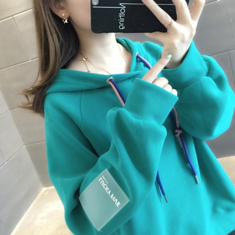 藏蓝色卫衣女洋气学院风潮流加绒春秋潮舒适纯棉学生运动服港风