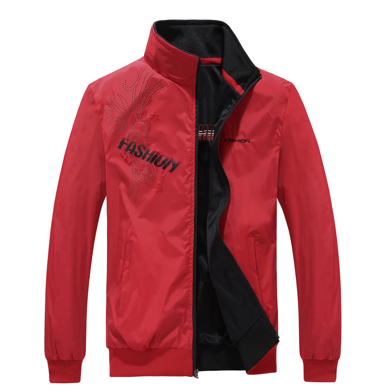 Spring and autumn new product teenagers wear sports and leisure jacket on both sides, mens large jacket, red thin singlet