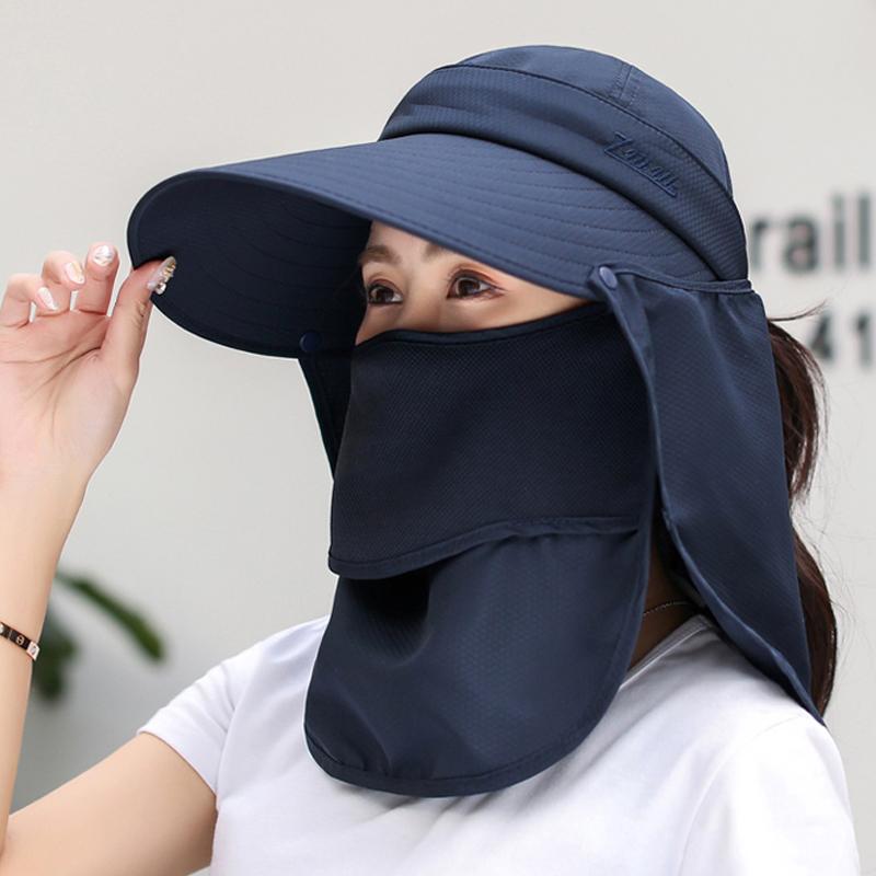 大沿遮阳帽子女夏季防晒遮脸太阳帽户外出行骑车帽防紫外线休闲帽