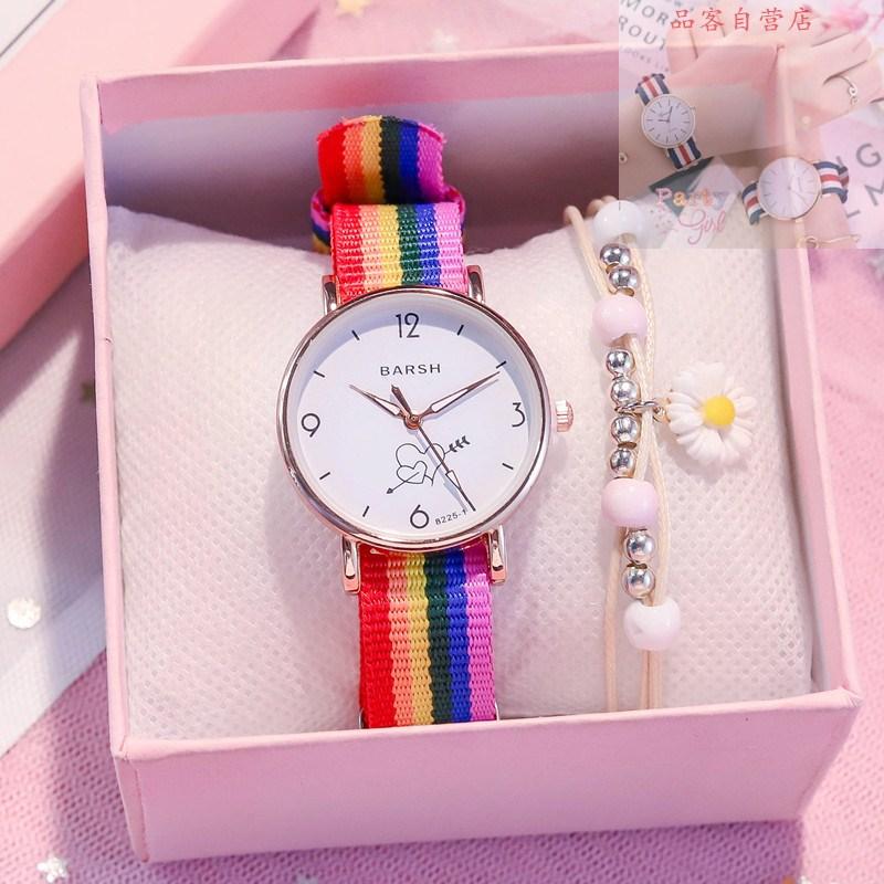 彩虹帆布带手表少女ins学院风中学生韩版简约小清新软妹日系可爱