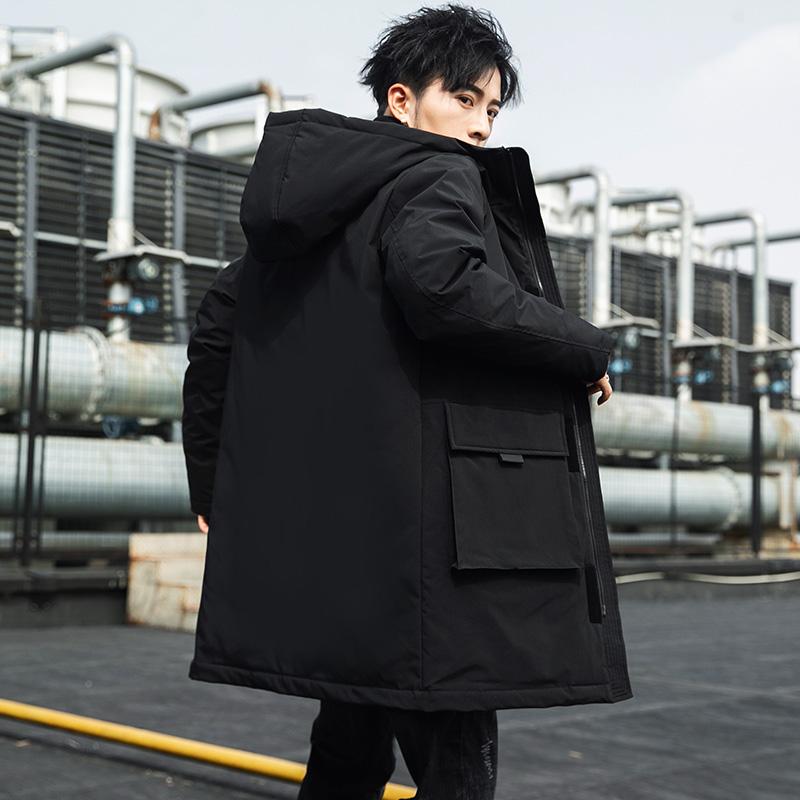 情侣款羽绒服男2019冬季新款韩版时尚连帽中长款休闲修身工装外套