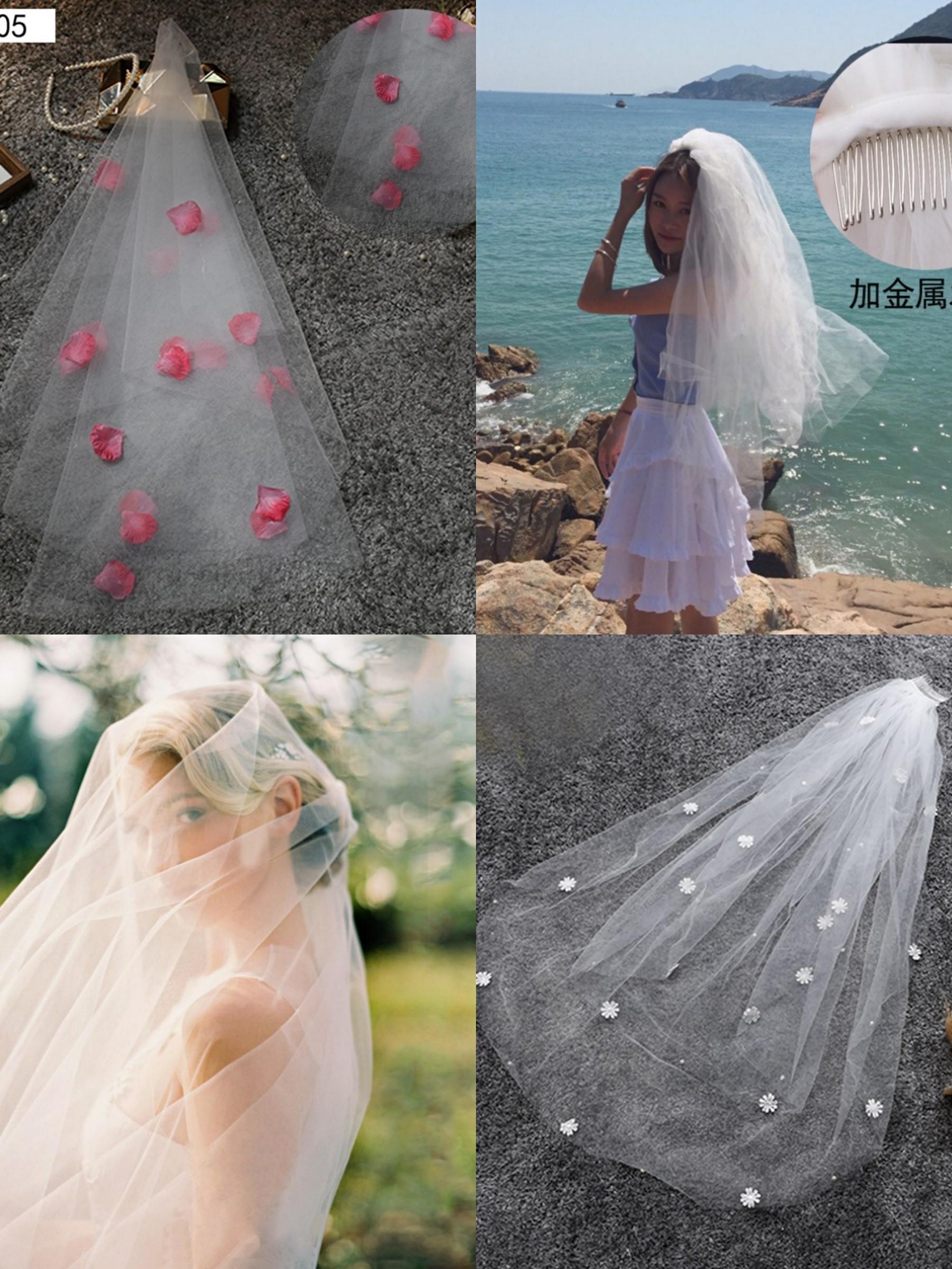 新娘走秀花边网纱蕾丝柔软头纱少女 结婚时尚百搭奢华小清新外景
