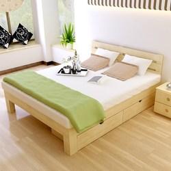 大床实木床靠背木头双人1.8米家用1经济型2普通成人1.5木板床头m
