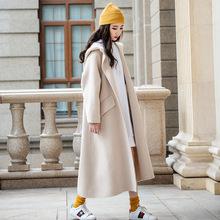 连帽双面羊绒大衣澳毛高端毛呢外套 2019欧美气质OL通勤女士加长款