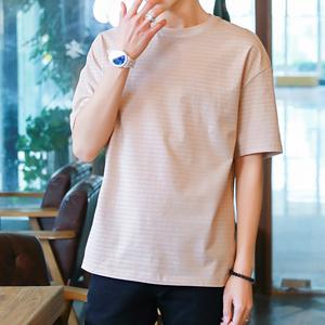 实拍夏季新款短袖男韩版修身T恤青少年休闲圆领打底衫上衣男8016