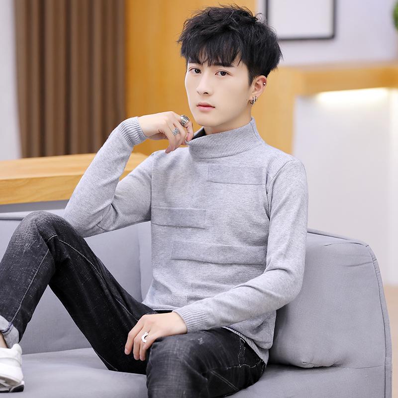 Z亚博娱乐平台入口新款韩版针织衫套头半高领男士毛衣纯色打底男式羊毛男装601