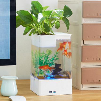 亚克力塑料金鱼缸迷你透明仿玻璃小型桌面创意孔雀斗鱼专用缸懒人