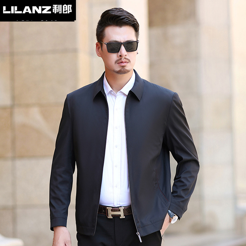 LiLang mens spring and autumn jacket 2020 new business casual Lapel mens middle aged leadership jacket jacket