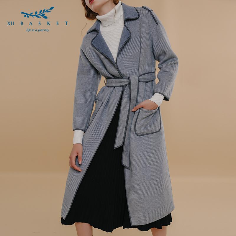 影儿十二篮18冬新款100羊毛简约收腰长款双面呢大衣女