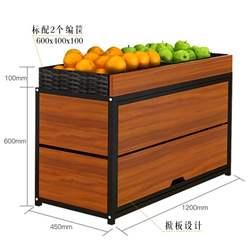 业神制造 精品超市水果蔬菜货架展示架1.2米两层钢木单面生鲜水果