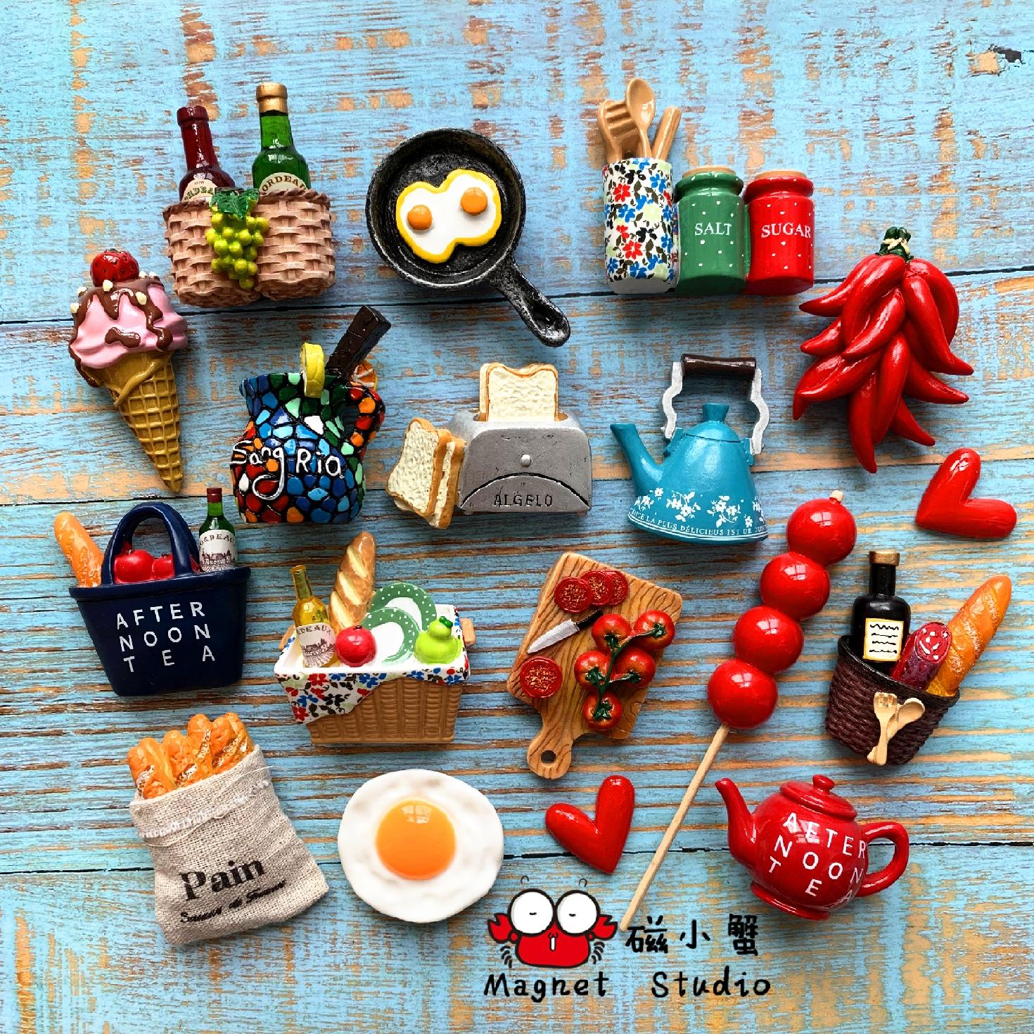 精致食物冰箱贴北欧ins风格 个性创意立体3d磁性装饰磁力贴磁铁