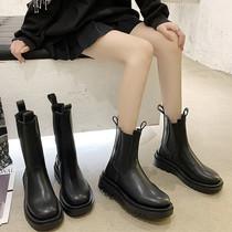 YTX01DZ0冬新款厚底加绒烟筒靴瘦瘦靴预2020天美意英伦切尔西靴女