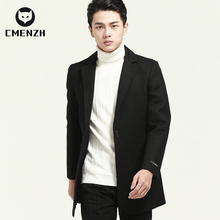 Wool coat men's medium short business casual wool non cashmere cloth youth men's autumn and winter suit coat