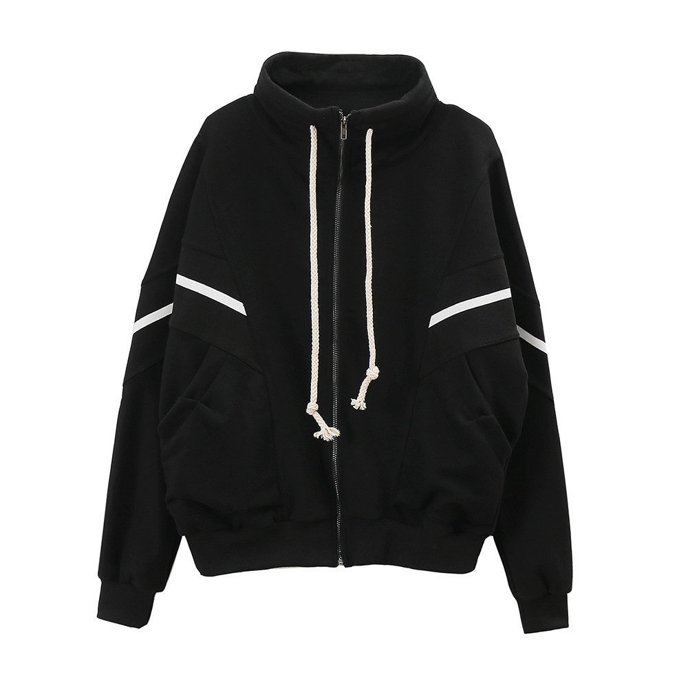 Cardigan womens hooded couple BF lazy wind loose high collar spring and autumn thin Korean version hat free casual versatile