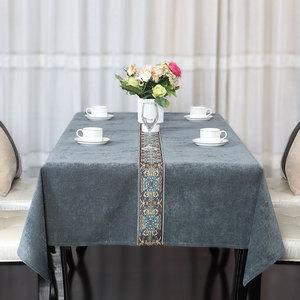 大凡欧式美式桌布布艺棉麻新古典现代中式高档餐桌茶几桌布艺定制