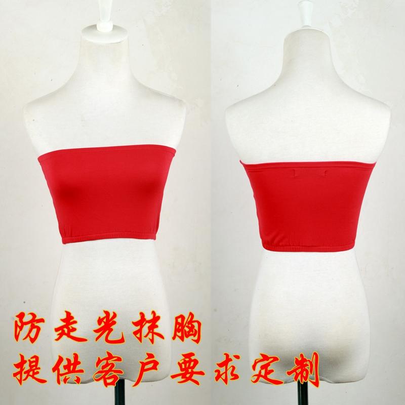 裹胸女抹胸打底防走光红色薄款短款性感修身文胸围胸内衣高弹力夏
