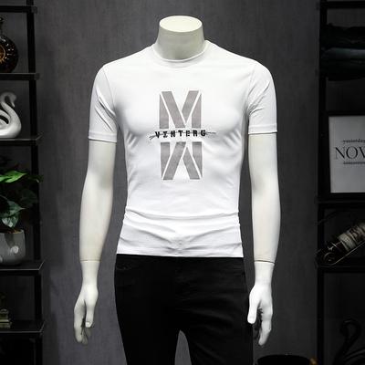 2019夏 男士修身短袖T恤圆领 潮 黑色QT6011-0096P75