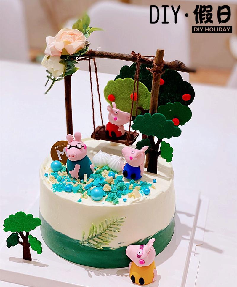 烘焙蛋糕装饰圣诞软陶小猪3D立体猪一家卡通插牌蘑菇田园房子