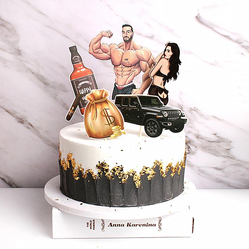 烘培蛋糕装饰 创意肌肉男神性感美女高富帅系列豪车名酒蛋糕插牌
