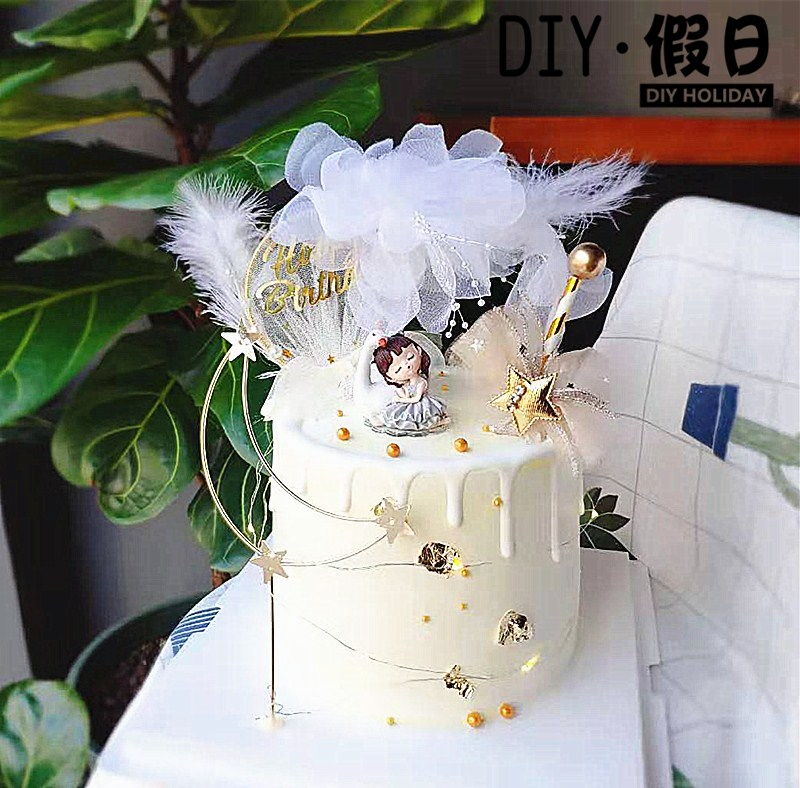 Cake decoration crown Swan girl sleepy little princess happy birthday dessert table decoration white feather gauze