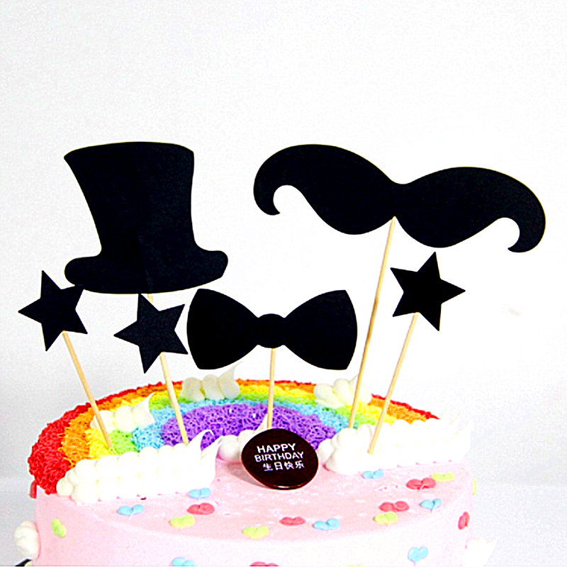 10 sets of cake with flag, mustache, bow tie, hat, fathers Day
