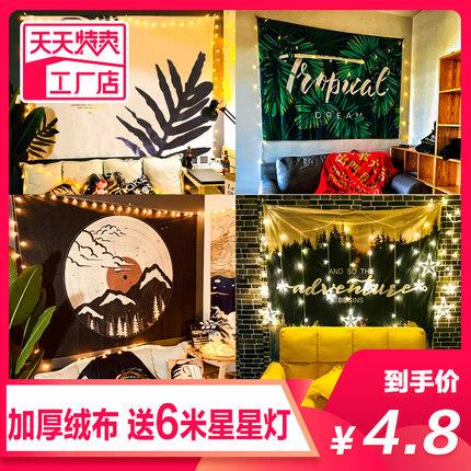 北欧ins背景布绿植挂布墙面房间布置床头墙布装饰画网红直播挂毯