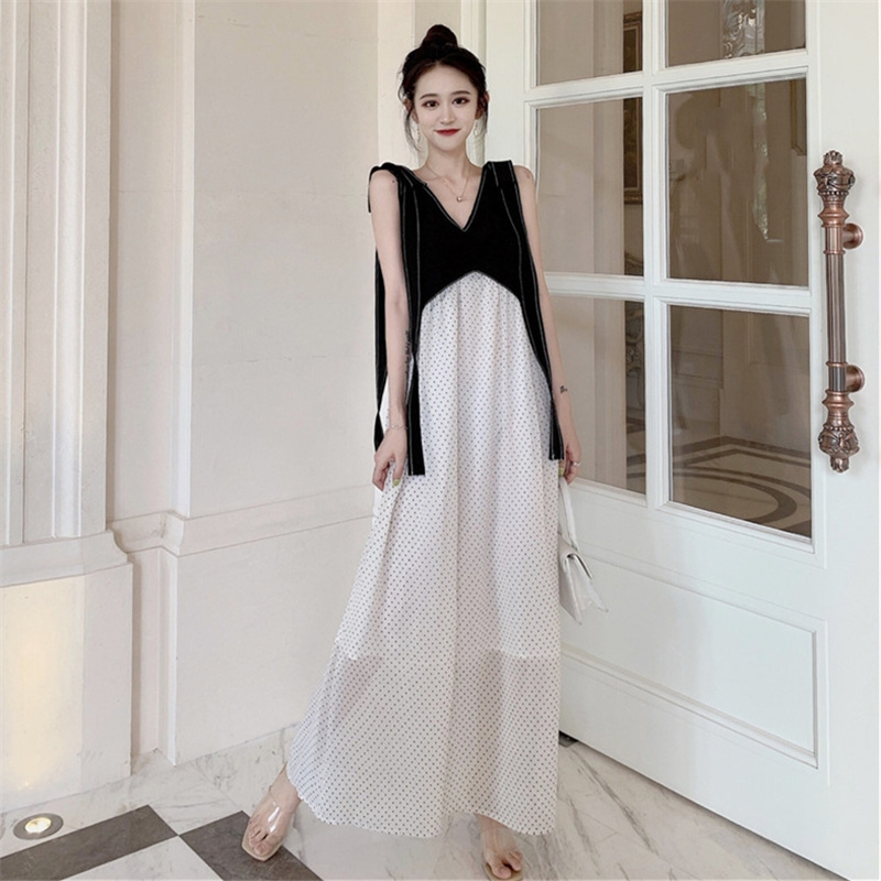 限2000张券egg法式吊带到脚踝超长显瘦连衣裙
