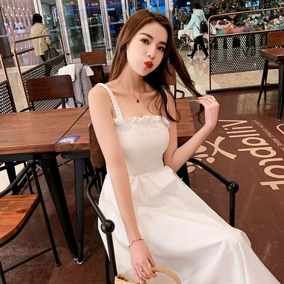Small fresh stripe dress 2020 summer Korean loose chic knee length T-shirt skirt long bottomed skirt