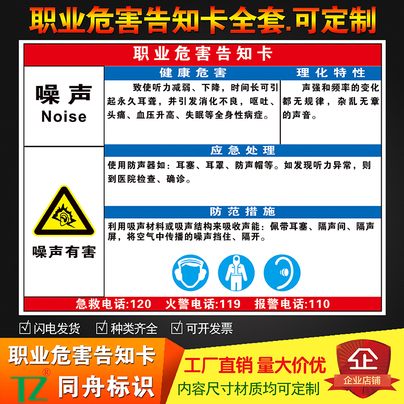 Noise occupational hazard notification card G01 occupational hazard warning sign notification board bulletin board complete set