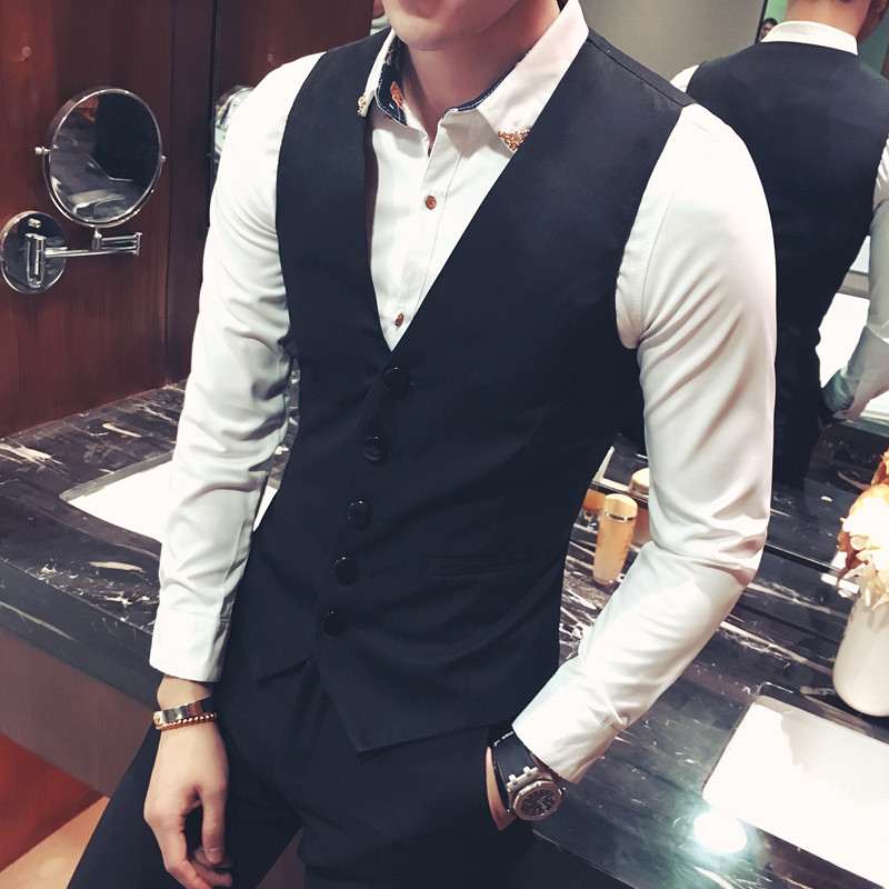 Fashion mens suit waistcoat spring and autumn thin oversized vest mens slim personality Korean casual