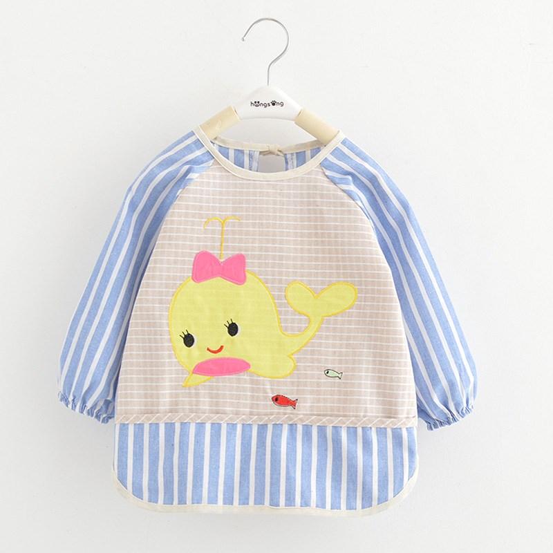 宝宝婴儿防水纯棉秋冬款罩衣男女幼童小孩薄款饭衣韩版护衣反穿衣