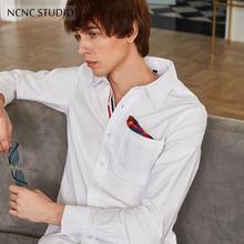 韩版 白外套 休闲长袖 同色系情侣装 tb衬衫 秋冬chic男女同款