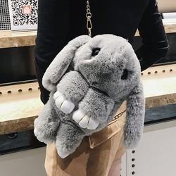 装死小兔子毛绒背包儿童兔玩偶双肩包女生单肩斜挎包包垂耳兔公仔