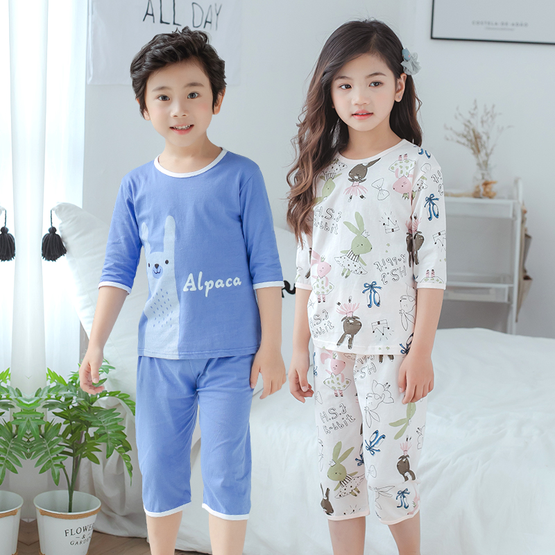 Childrens air conditioning home wear summer pajamas for boys and girls pure cotton thin seven point sleeve set babys medium sleeve pants