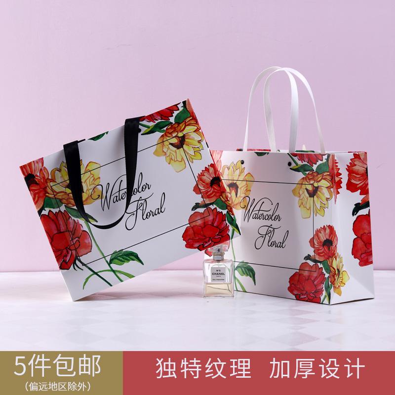 文艺手提袋红色厚精美礼品盒纸袋创意生日礼品袋高档服装袋礼物袋
