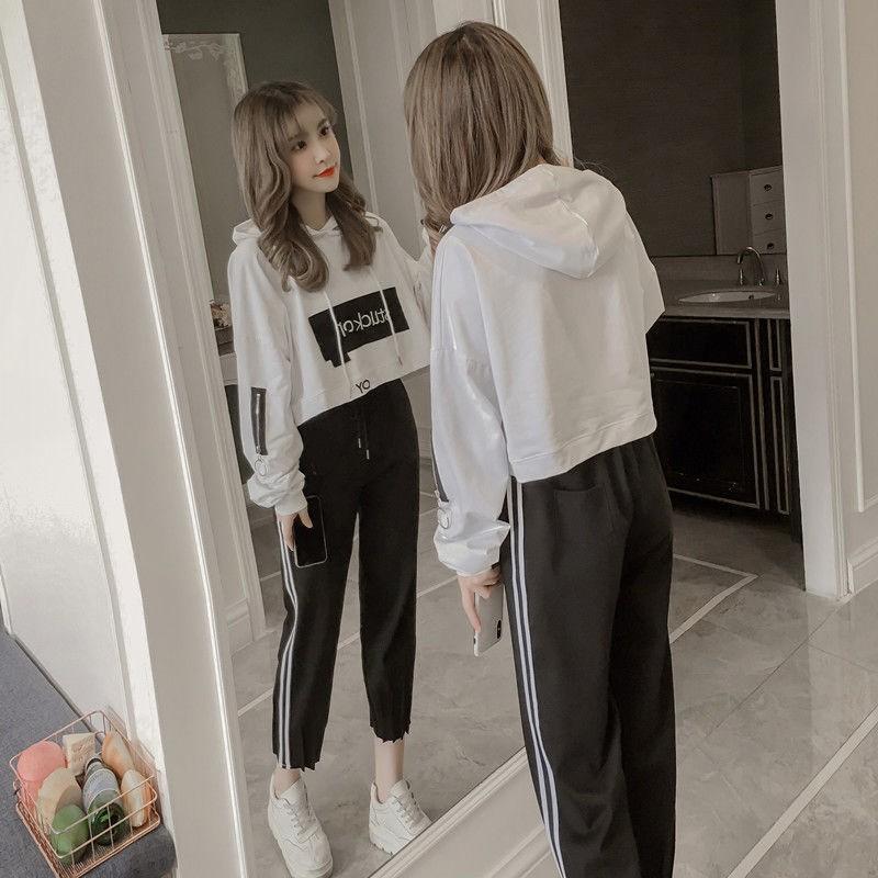 套裝女學生2019春秋韓版新款時尚寬松長袖連帽衛衣運動休閑兩件套