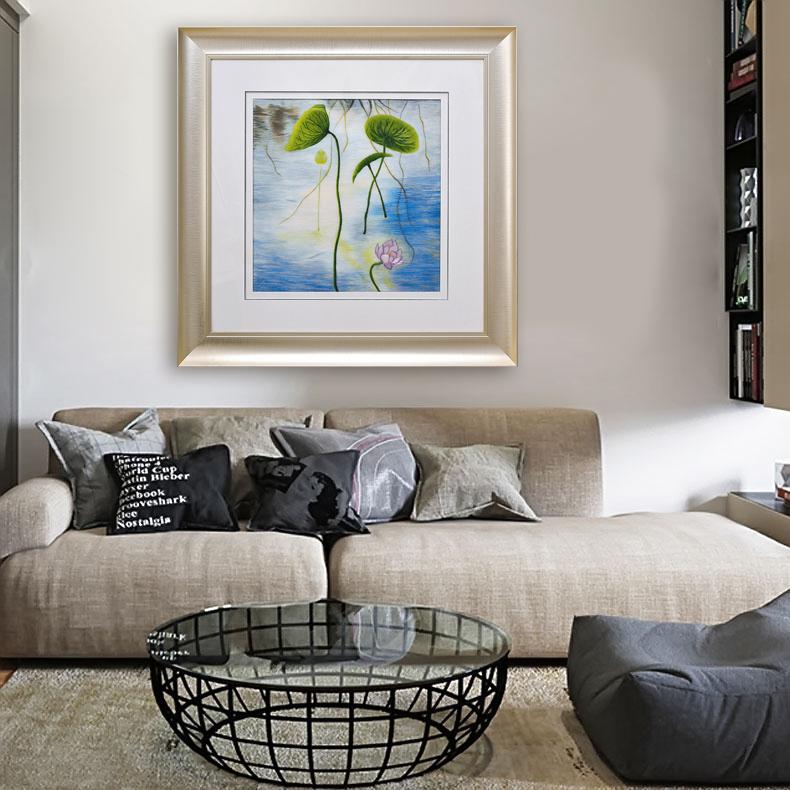 客厅沙发背景墙挂画荷花装饰画玄关壁画墙画手工刺绣苏绣成品