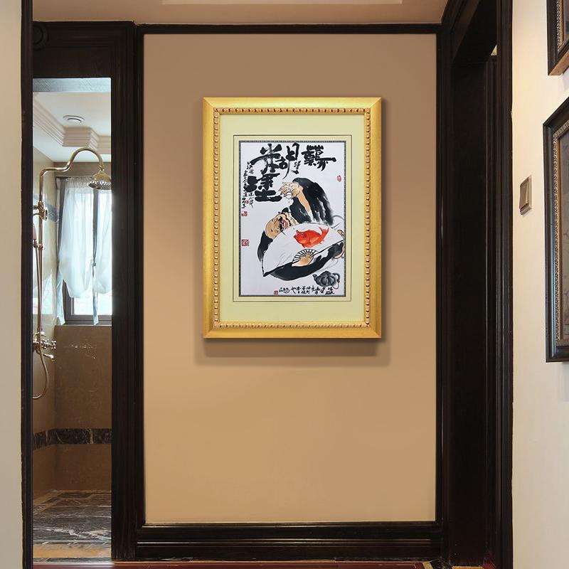 玄关挂画竖版人物装饰画办公室壁画中式墙画书房画装饰刺绣手工
