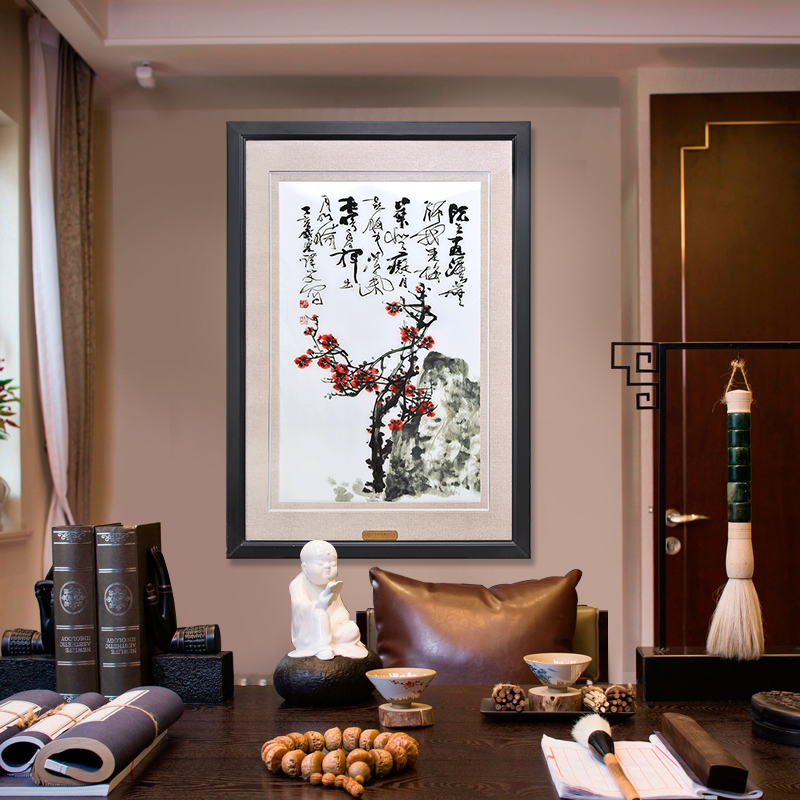 玄关壁画竖版装饰画现代简约书房挂画办公室墙画手工刺绣画梅花图