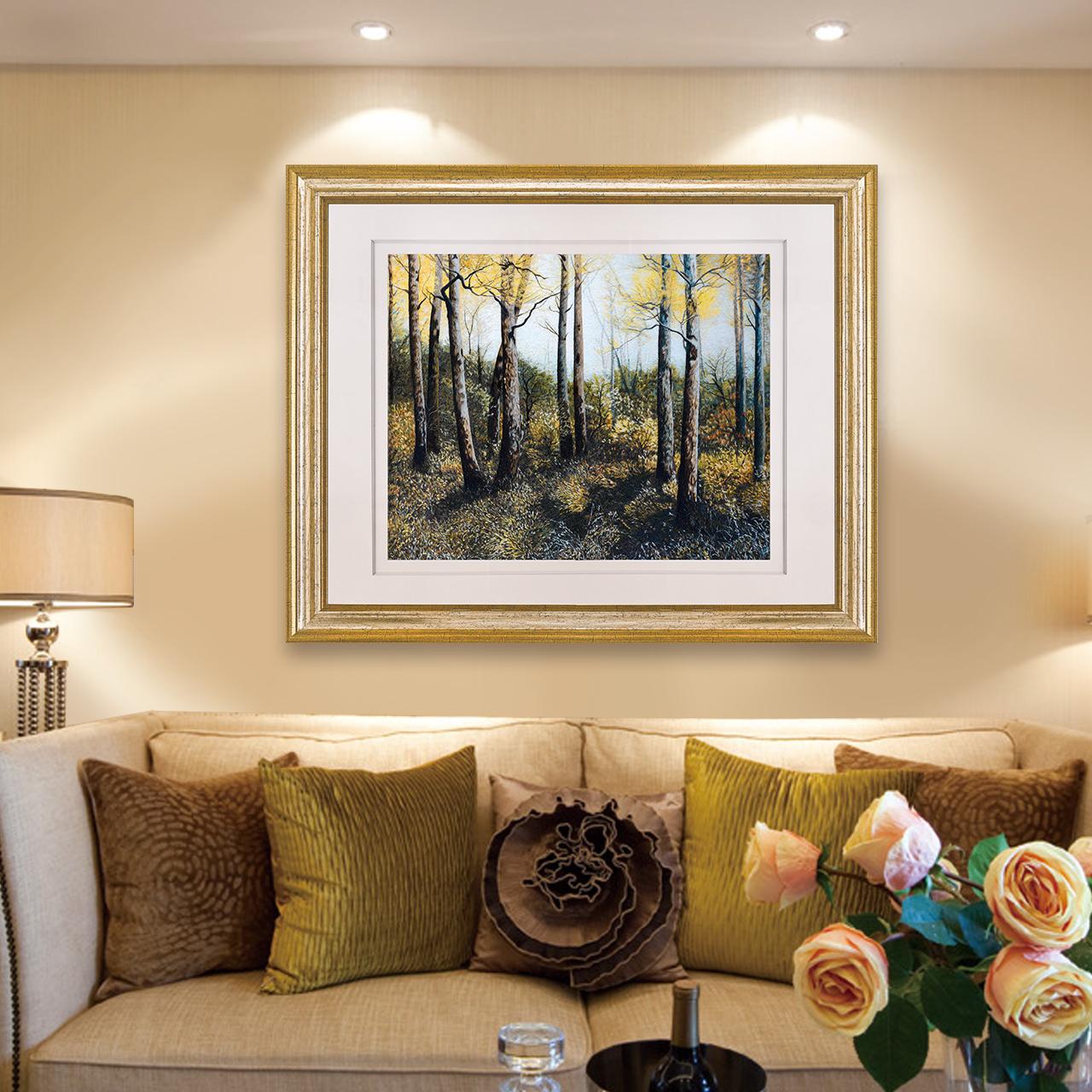 江南绣庄装饰画客厅现代苏绣挂画油画风景白桦林过道装饰壁画欧式