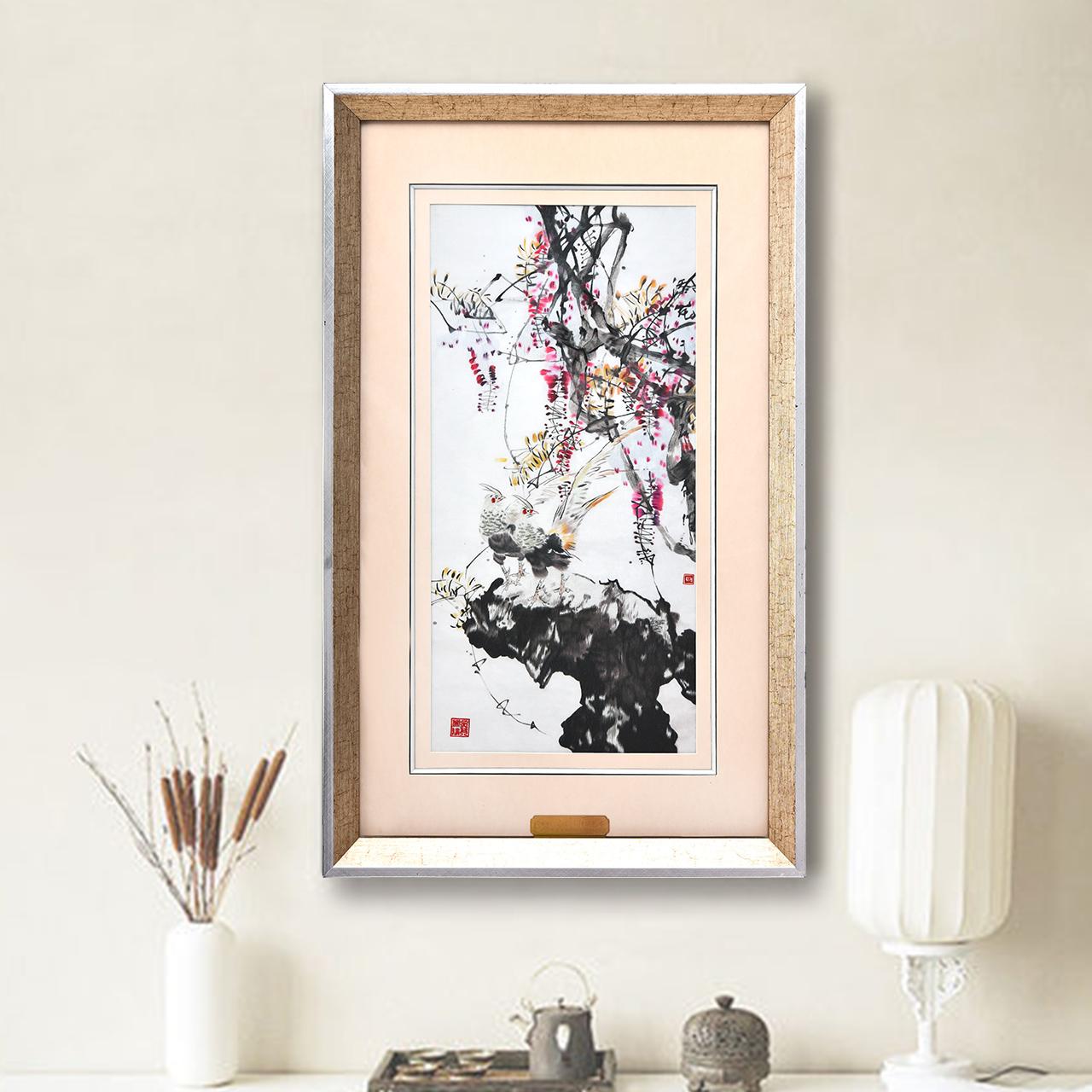 苏绣刺绣手工玄关装饰画竖版走廊书房挂画餐厅壁画饭厅单幅墙画