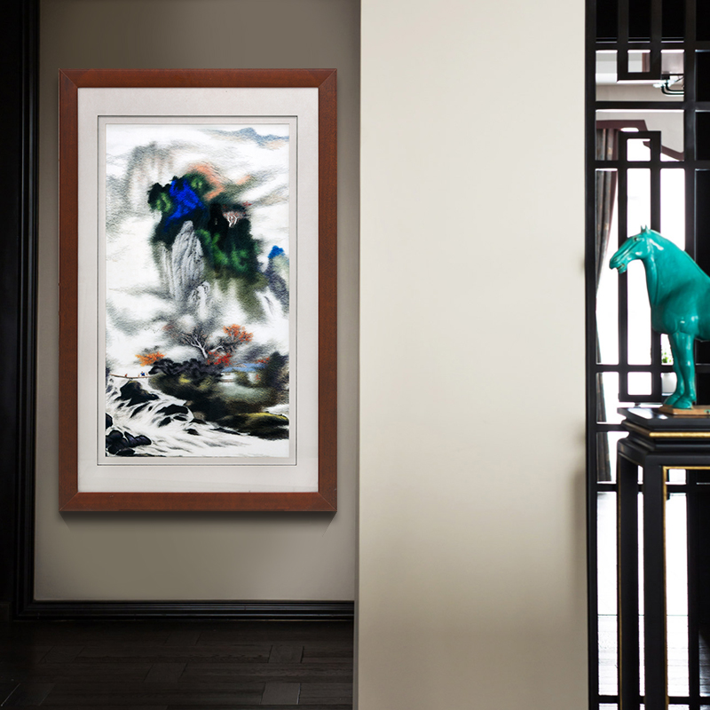玄关装饰画过道走廊竖版新中式壁画苏绣刺绣成品客厅挂画山水画