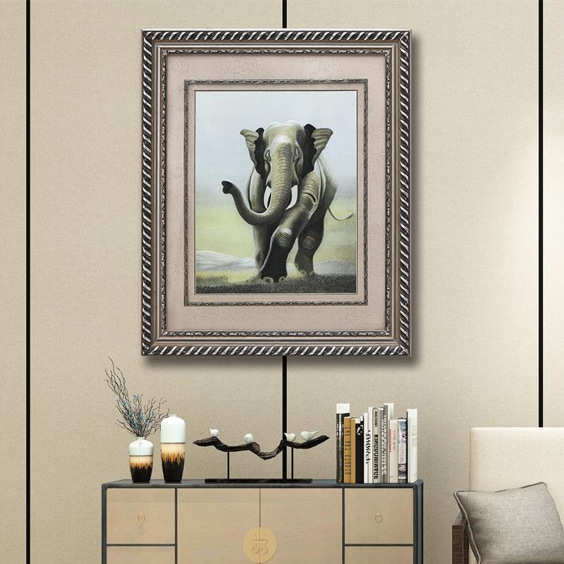 艺术画挂画个性创意办公室壁画动物装饰画手工刺绣苏绣挂画大象画