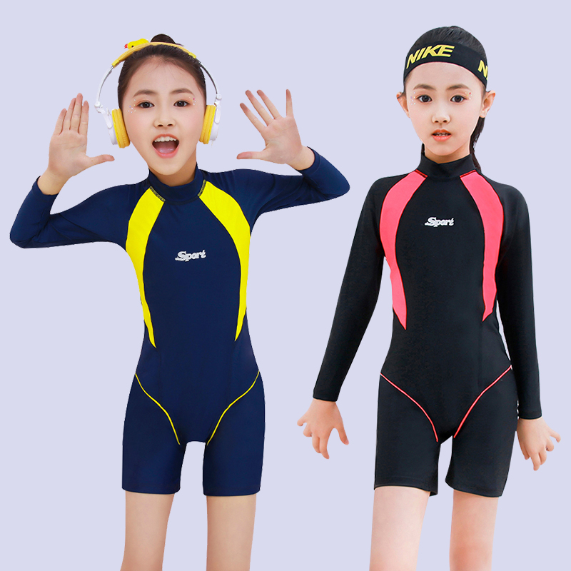 Professional sunscreen swimsuit childrens Girl Korean Princess lovely girl one piece long sleeve hot spring Zhongda child