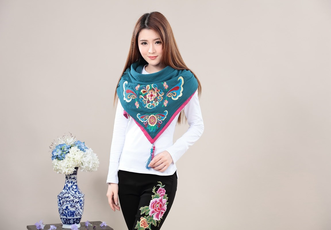 Shawl Chinese style versatile triangle Scarf Cotton hemp retro national flower embroidery new autumn and winter womens scarf accessories